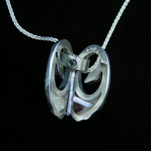 Swan Silver Locket Open