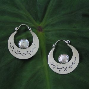 Hina Moon Silver Earrings with Pearl