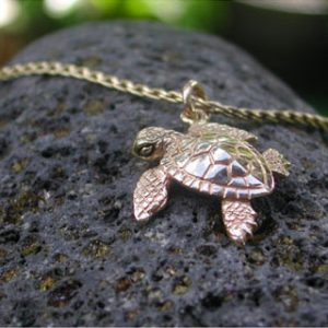 Hawaiian Baby Sea Turtle Gold Pendant