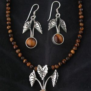 Tarot Silver Earrings and Necklace Set with Tigers Eye