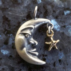 Moon Pendant and Star Charm Gold